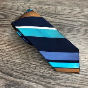 Ben Silver Navy, Gold & Aqua Stripe Skinny Tie